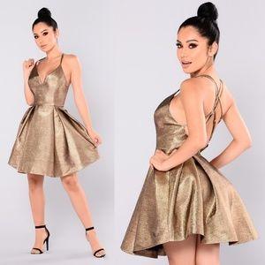 Fashion Nova Metallic Gold Dress w/Tags